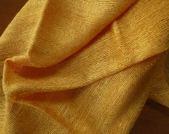 """Traditional raw """"rough"""" silk textile - asian ethnic silk scarf textile-handwoven Lao Thai weaving -rough outer cocoon silk mustard gold"""