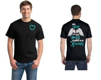 His Wings were ready but my heart was not in memory of my Brother/Grandpa/Father  50/50 blend unisex t shirt