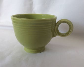 Vintage Fiestaware Chartreuse Coffee Cup, Ring Handle