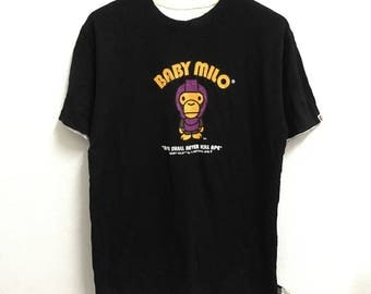 RARE!!! Baby Milo Reversible By Bathing Ape Big Logo Multicolour SpellOut Crew Neck T-Shirts L Size