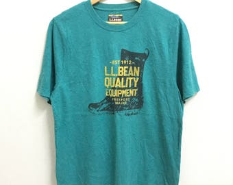 RARE!!! L.L BEAN Quality Equipment Big Logo SpellOut Crew Neck T-Shirts L Size