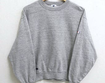 RARE!!!! Champion Products Small Logo Embroidery Crew Neck Grey Colour Sweatshirts Hip Hop Swag M Size