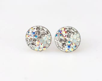Sterling Silver Pave Radience Stud Earrings, Swarovsky Crystals, White Pizza Pattern, Unique BlingBling Korean Style