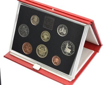 1986 Royal Mint Proof Set Red Leather Deluxe