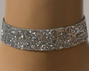 Silver Glitter Fabric Choker with Satin Ribbon Ties Free Size