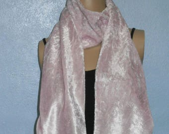 Pale Pink Crushed Velvet Scarf 15 cm x150 cm Women's / Ladies Lovely Soft And Warm Great Accessory Gift