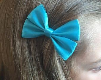 Turquoise satin hair bow, hair bows, double bow crocodile clip. children's hair bow, satin hair bow, hair bow clip, hair accessories
