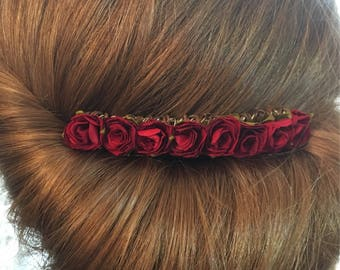 Dark Red decorative bridal comb Bridesmaid hair comb, wedding hair comb, decorative comb, flower girl hair piece, mulberry paper flowers