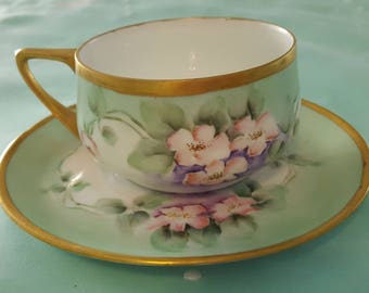 Lovely cup and saucer with rose motif and gold trim