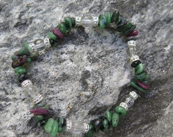 Ruby Zoisite Bracelet with Clear Quartz with 925 Silver