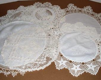 Six Vintage Crochet Doilies.  Cream/Off White Doilies.  Tatted Edge.  Crochet Edge.