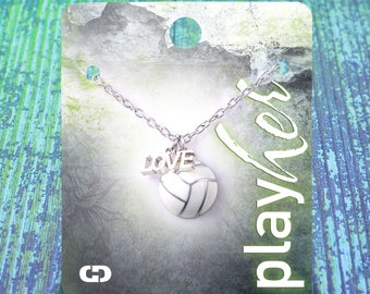 Customizable! Volleyball Love Enamel Necklace - Personalize with Jersey Number, Heart Charm, or Letter Charm! Great Volleyball Gift!