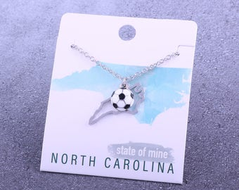 Customizable! State of Mine: North Carolina Soccer Enamel Necklace - Great Soccer Gift!