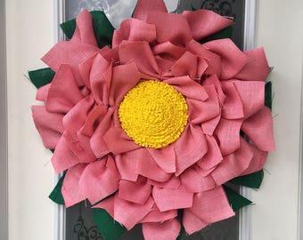 Flower Burlap Wreath // Spring Wreath // Front Door Decor