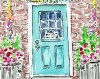 Happy Door Watercolor 5x7, 8x10, 11x14, Archival Print, Print,  Watercolour, Art