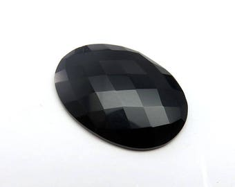 26Cts 32X24X5 mm Black Onyx Oval Loose Gemstones Faceted Checkerboard Cut - Top Quality Natural Black Onyx Jewelry Making Gemstone RG-017