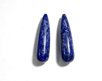 37 Cts 31X8 mm Lapis Lazuli Cabochon Tear Drop Shape Loose Gemstones Natural Top Quality Lapis Lazuli For Jewelry Making 2 Pieces Pair