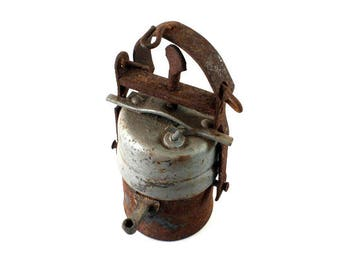 Antique Vintage Miner's Lamp, Metal Carbide Lamp, Acetylene Gas Lamp, Metal Carbide Lamp, Antique, Miner's Lamp