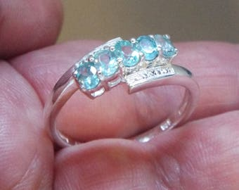 Natural Madagascar Paraiba Blue Apatite 5 Stone Ring Size 10 in 925 Sterling Silver