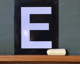 """Vintage Alphabet Letter, Vintage Porcelain/Enamel Letter """"E"""", Vintage Sign"""