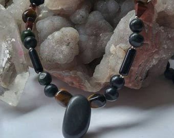 Men's style Tigareye and Serpentine necklace