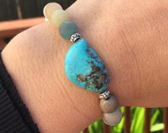 Matte Amazonite and Turquoise Bracelet