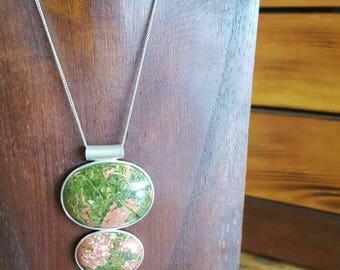 Beautiful silver unakite necklace