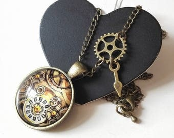 Game Of Thrones steampunk gears cabochon necklace bronze antique man geek gift idea