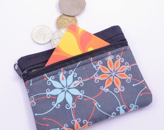 Small black Fabric coin purse, grey orange and teal. australian flora gift/business card holder zipper pouch