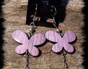 Earrings Purple Butterfly and spiral charm #11