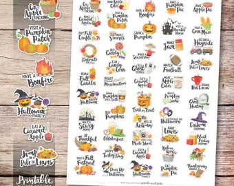 Fall Bucket List Printable Planner Stickers, Watercolor Autumn Stickers, Autumn Printable Stickers, Cut File