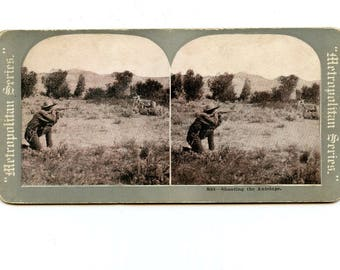 Stereoview Card, Metropolitan Series, 893 Shooting the Antelope, Black and White Lithograph