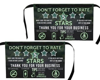 Uber Tips and Rating Sign for Uber Drivers, 5 Stars, Set of 2, Camo Edition