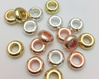 30pcs 9mm Shiny Gold, Silver & Rose Gold Rondelle Spacer Beads 4mm Large Hole for Leather Cord Rope Tarnish Resistant