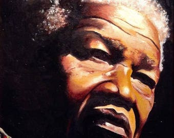 Limited Edition Nelson Mandela A3 Print Of Original Oil Painting President Icon