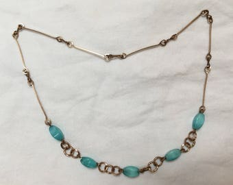 Vintage Art Deco 1930s turquoise blue glass bead necklace Rolled gold wire chain