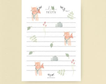 Notebook, to-do list, notepads - little foxes