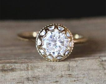Vintage Bezel Ring 7.5mm Round Cut Forever One Moissanite Engagement Ring Brilliant Plian Ring Stackable 14K Yellow Gold Anniversary Ring
