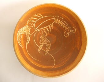 Mid Century Signed David Hostetler Pottery Lobster Bowl