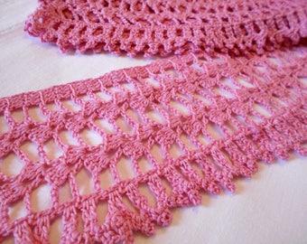 3 yards Pink crochet lace Pink crochet Crochet lace trim Pink lace Crocheted lace trim Pink lace trim Trim lace Vintage crochet trim Lace