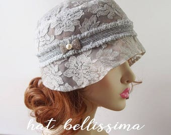 SALE gray 1920s Cloche Hat  Lace fabric Vintage Style hat hatbellissima Summer Hats
