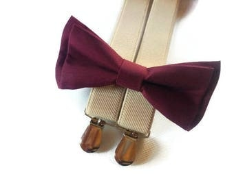 ring bearer outfirt burtgundy bow tie and suspenders sand biege wedding boys outfit photoprops suspenders and bow tie toddler bowtie groom