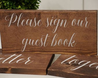 Rustic please sign our guest book wedding sign. Please sign our guest book table sign. Please sign our guest book wood sign.