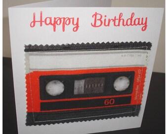 Retro Cassette Tape Birthday Card 1980s Music Pop Art