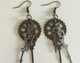 Clock-hand Gear earrings