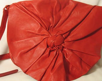 """""""The La BAGAGERIE"""", leather soft and drapey red leather bag"""