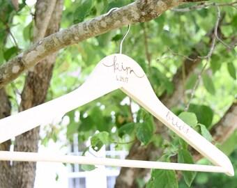 Wedding Wooden Hanger, Bridal and Bridesmaid Dress Hanger, Personalized Custom Wedding Hanger