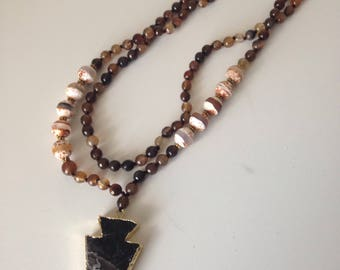 Arrowhead agate necklace-hand knotted necklace-gemstone-bohemian-beaded necklace