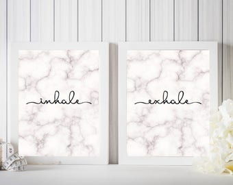 Inhale - Exhale - Marble Effect Print - Set Of Two