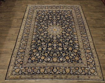 Floral Design S Antique Signed Navy Kashan Persian Area Rug Oriental Carpet 8X11